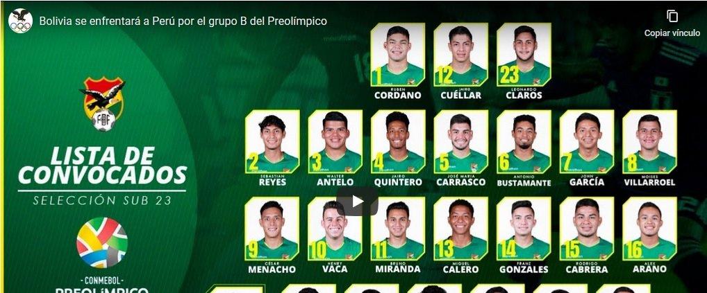 Bolivia sub 23 por la clasificación ante Perú
